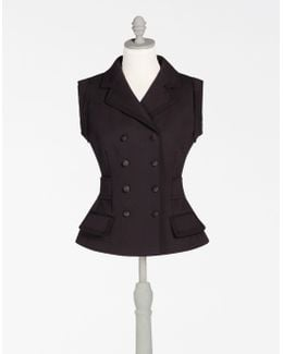 Sleeveless Stretch Wool Jacket With Bejewelled Buckle At The Back