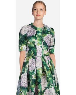 Short Blazer In Printed Silk