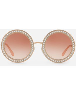 Round Metal Sunglasses With Crystal Details