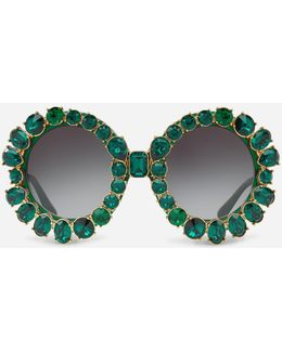 Round Sunglasses With Swarovski Crystals