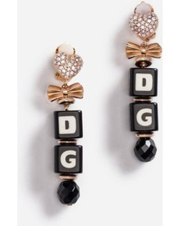 Drop Earrings With Dice And Crystals