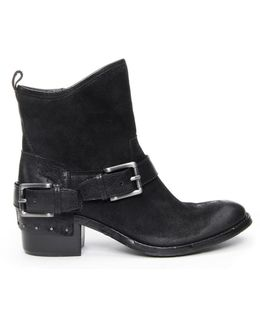 Reverse Leather Riding Bootie