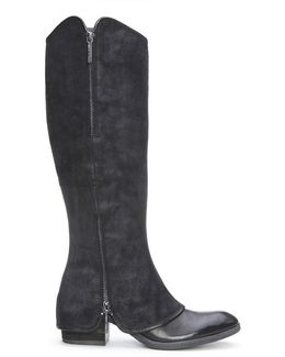 Reverse Calf Leather Boot