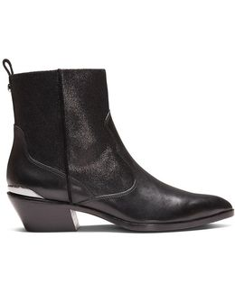 Calf Leather And Crackled Metallic Leather Bootie