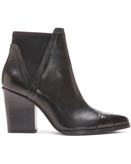 Calf Leather And Genuine Watersnake Bootie