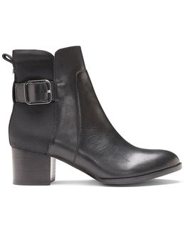 Calf Leather And Nylon Stretch Bootie
