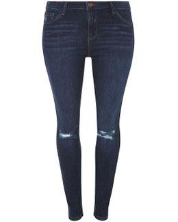 Dp Curve Indigo Skinny Ripped Jeans