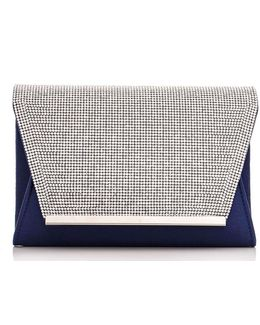 Quiz Navy Diamante Envelope Bag
