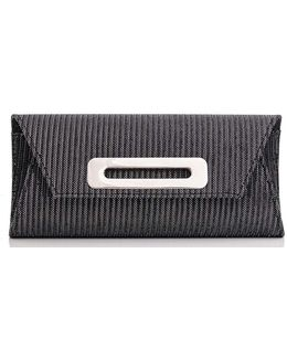 Quiz Grey Striped Shimmer Clutch Bag
