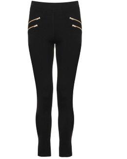 Quiz Black Four Gold Zip Leggings