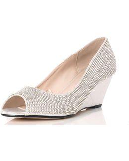 Quiz Silver Diamante Wedges