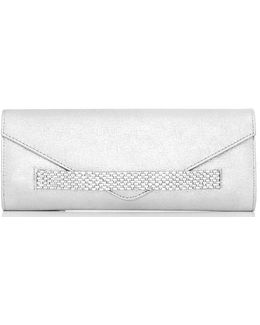 Quiz Silver Jewel Envelope Clutch Bag