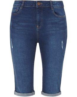 Tall Mid Wash Abrasion Knee Length Shorts
