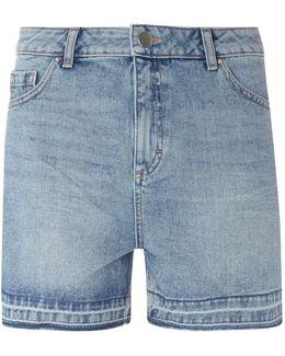 Tall Mid Wash Let Down Hem Shorts