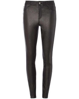 Tall Pewter Glitter Coated Skinny Fit Jeans
