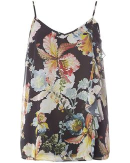 Tall Black Floral Print Camisole Top