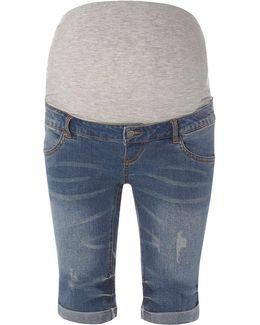 Mamalicious Maternity Blue Denim Shorts