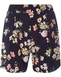 Navy Floral Print Shorts