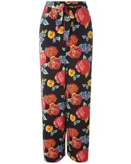 Black Bloom Print Tie Palazzo Trousers
