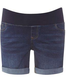 Maternity Mid Wash Under Bump Boyfriend Shorts