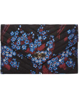 Black Floral Satin Twistlock Clutch Bag