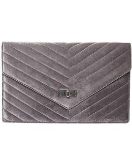 Grey Quilt Twist Lock Clutch Bag