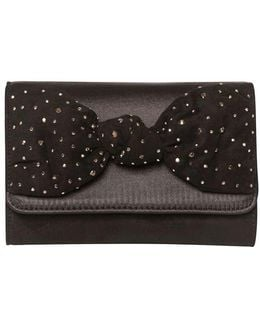Showcase Black Satin Bow Clutch Bag