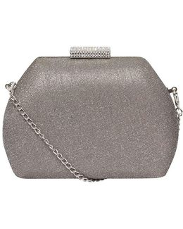 Grey 'nisco' Gem Lock Clutch Bag