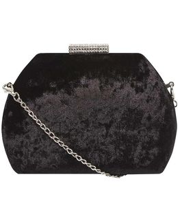Black Velvet Gem Lock Clutch Bag