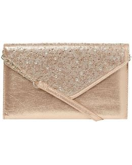 Showcase Gold Gem Envelope Clutch Bag