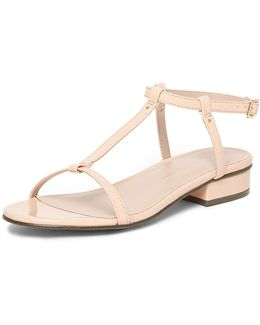 Nude 'frappe' T-bar Sandals
