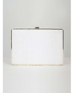 Chi Chi London White Crochet Clutch Bag