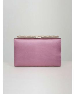 Chi Chi London Berry Diamante Clasp Clutch Bag
