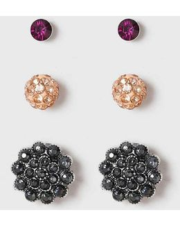 Domed Pink Stud Earrings