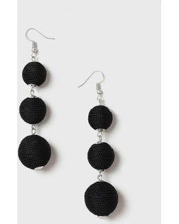Black Ball Drop Earrings