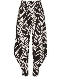 Izabel London Monochrome Abstract Print Harem Trousers