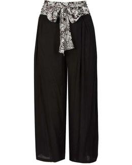 Izabel London Black Belted Palazzo Trousers