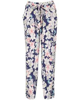 Izabel London Navy Floral Print Trousers