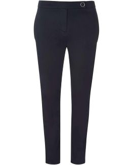 Tall Navy Cotton Sateen Trousers