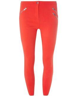 Coral Zip Crop Bengaline Trousers