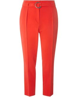 Red Tapered Belted Trousers