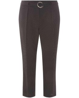 Black Spotted Tapered Leg Cropped Trousers