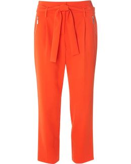 Orange Zip Tie Tapered Trousers