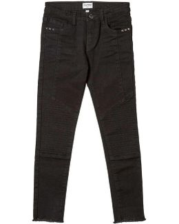 Girls Black Skinny Fit Biker Jeans (5 - 12 Years)