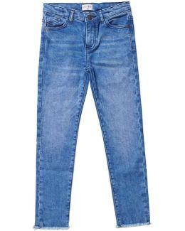 Girls Mid Blue Skinny Fit Fringe Hem Jeans (5 - 12 Years)