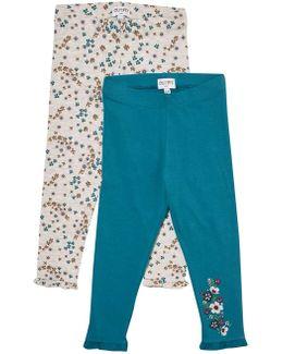 Girls 2 Pack Grey Floral Print Leggings (18 Months - 6 Years)