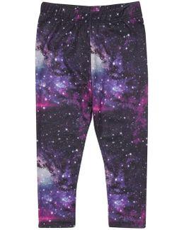 Girls Purple Galaxy Print Leggings (18 Months - 6 Years)