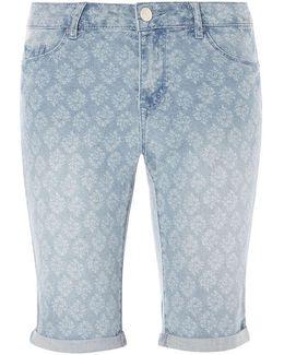 Printed Denim Knee Length Shorts