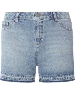 Mid Wash Let Down Hem Shorts