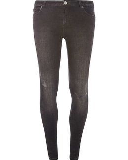 Washed Black Abrasion 'darcy' Authentic Skinny Jeans